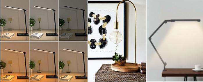 diferentes modelos de lamparas led de escritorio y diferentes tonalidades de iluminacion