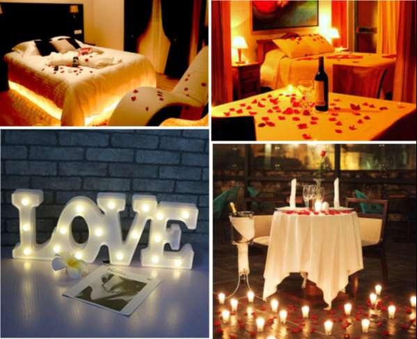 Diferentes zonas de una casa com iluminaciones para conseguir ambientes rduslces y romanticos