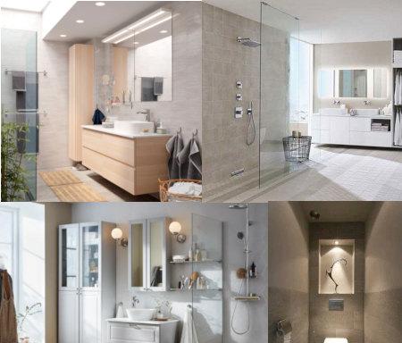 Diferentes fotos de baños con iluminaciones con diferentes luces y lámparas