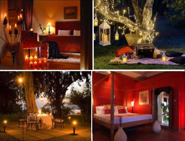 Foto con 4 zonas románticas 2 interiores y 2 exteriores con protagonista la iluminación.