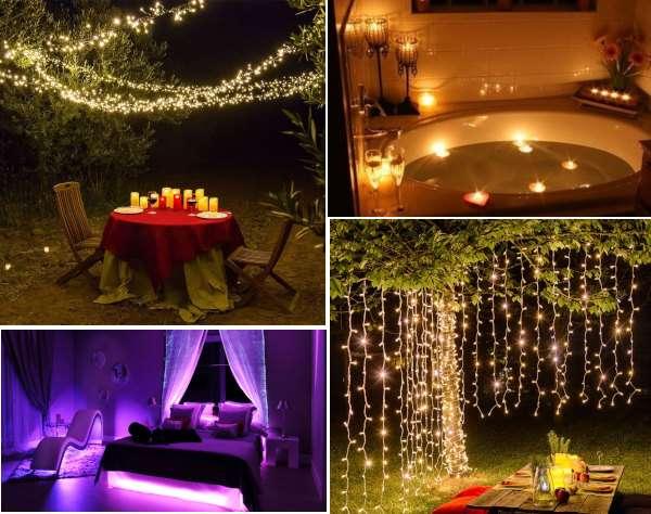 2 fotos de jardines para cena romantica con luces de hadas y baño y dormitorio con alumbrado de colores