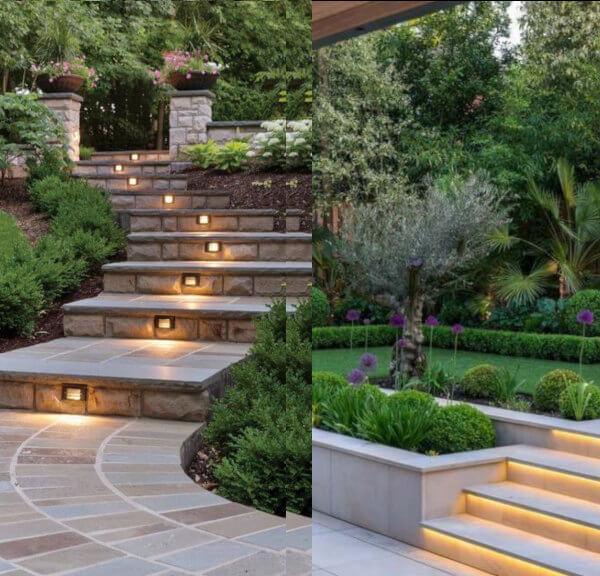 escaleras de jardin iluminadas bien