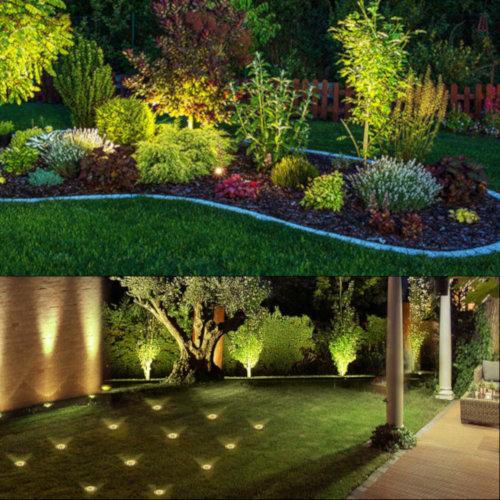 ilumiinar jardin con luces de fondo