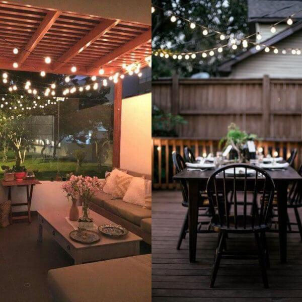 Jardines iluminados con tiras de luces o guirnaldas