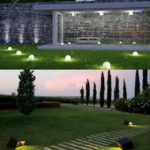 uso de focos para iluminar el jardín