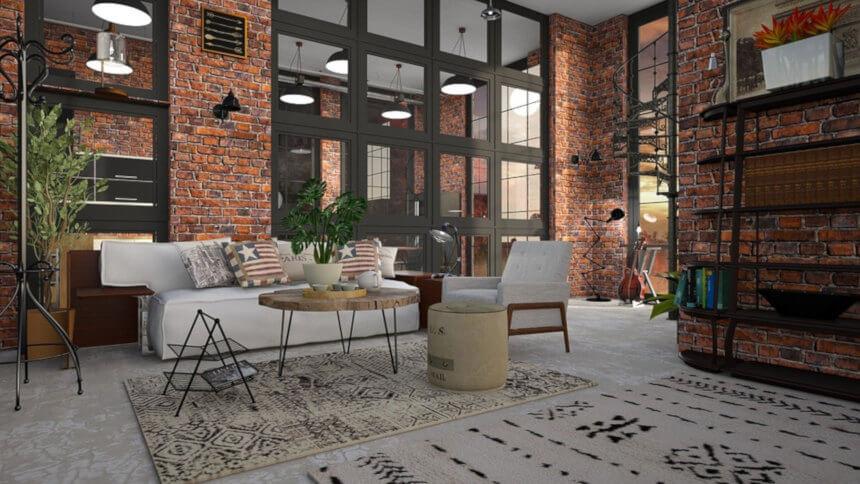 loft moderno con muebles minimalistas y elegantes