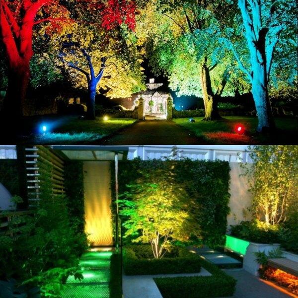 luces de colores para iluminar un jardin