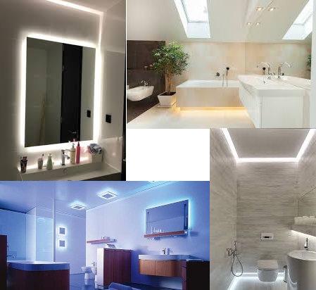 iluminación del espejo del baño, de la ducha y iluminación indirecta para el baño