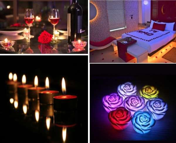 Velas para conseguir una iluminación romántica ademas de rosas eléctricas de colores. Y ejemlos de habitaciones románticas